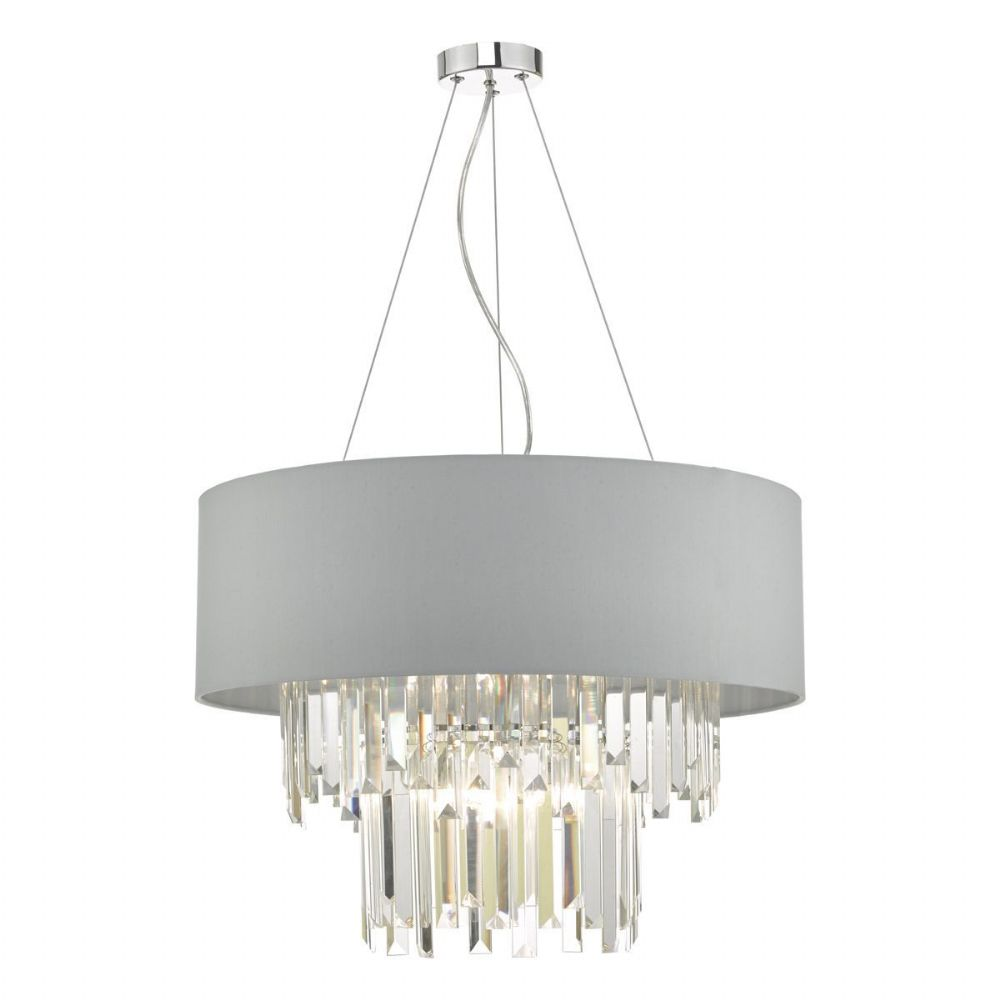 Halle 6lt Pendant Grey & Crystal Cw Shade (double insulated) BXHAL0639-17